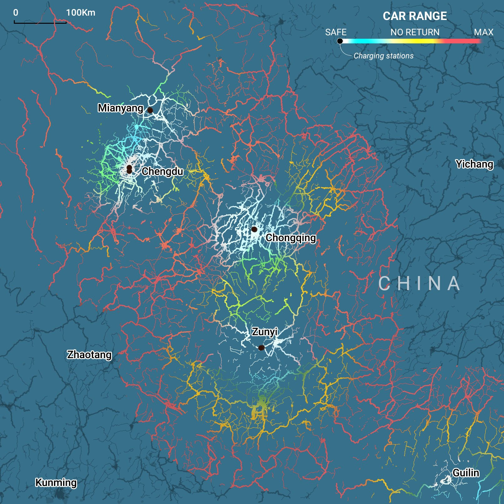 The Stones In Road For Chinas 2025 Plan On Electric Vehicles Power Distribution Switch Mic 1 Stations Mianyang Chengdu Chongqing And Zunyi Cities Make A Corridor Evs Southwest Area Of China But Highway Network Extends Further